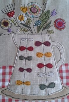 www.facebook.com/zoewrighttextiles flowers in a jug, textile, applique, fabric picture