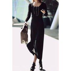 Asymmetrical Hem Scoop Neck Long Sleeve Pullover Women's Dress