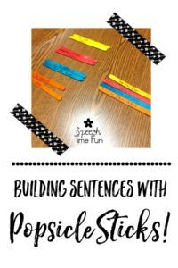 Building Sentences with Popsicle Sticks in Speech. A fun, DIY idea that won't…