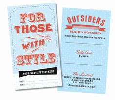 Recent business card design for the business owner, Nellie Davis of Outsiders Hair Salon - recent RAW Awards winner. Proud to have the chance to share our design skills :) By Design on the edge
