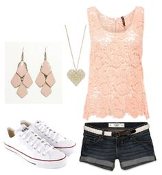 I love this, except the shorts need to be longer, and i wouldnt do the ear rings. Maybe a different color tank, because i'm not a pink person.