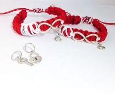Kırmızı Beyaz Sonsuzluk Üzeri Ay Yıldız Bay Bayan Örme Ayarlanabilir Sevgili Bileklik Seti