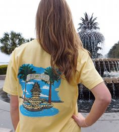 This Preppy Spring Ladies Tee is inspired by the Pineapple Fountain located on Waterfront park- Charleston, South Carolina
