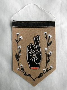 Hand Embroidered Fingers Crossed Pennant by eradura on Etsy, $42.00