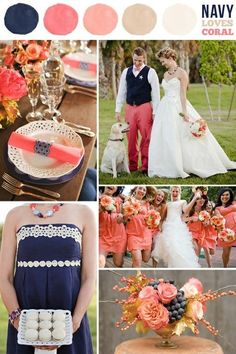 navy and coral. call it coral, but there are our wedding colors! Wedding Bells, Wedding Events, Our Wedding, Dream Wedding, Wedding Stage, Wedding Vows, Wedding Season, Trendy Wedding, Rustic Wedding