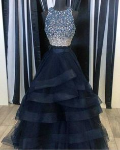 Pink Tulle Princess Prom Gown, A Line Formal Gown,Low Back Prom O-neck Two Pieces Tulle Prom Dresses,Navy Blue Prom Dresses,Beaded Dresses,Sparkly Party Prom Dresses,Formal Evening DressesWith Lace Top