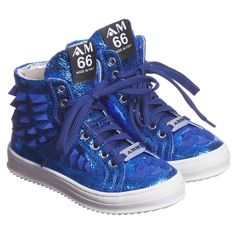 AM66 metallic blue leather high top trainers with rubber studs on one side and front. They have a solid rubber sole and a softly padded leather lining.Both cool and practical, they fasten on the front with laces for tightening and have a zip on the side which makes them easy to slip on and off without undoing the laces. <ul> <li>Metallic leather upper</li> <li>Rubber sole</li> <li>Can be slipped on and off using just the zip</li> <li>Made in Italy</li> <li>This product is suitable for…