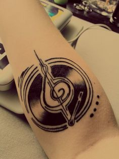 Music/Record Player Tattoo - holy mess this is it!