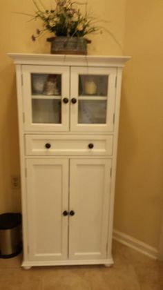 Home Decorators Collection Hampton Harbor 25 in. W x 14 in. D x 52-1/2 in. H Linen Storage Cabinet with 4 Doors in White 4772910410 at The Home Depot - Mobile