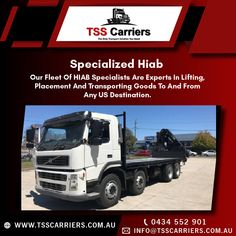 The HIAB Crane is tailor-made to suit you and your business' requirements. The HIAB Crane underlines TSS Carriers, and HIABS, commitment to offer cranes with the best performance and efficiency for your business and workload. For more Details:info@tsscarriers.com.au #hiab #hiabs #hiabhire #transportation #hiabtransport #sydney #portablecabins #delivery #containers #haibsinsydney #haibsservice #cranetruck #tsscarriers #tsstrucks #trucks Truck Mounted Crane, Portable Cabins, Us Destinations, Business Requirements, Transportation Services, Cool Trucks, Sydney, Australia, Delivery