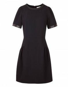 ROSE-LEATHER DETAIL DRESS #Designer #Fashion