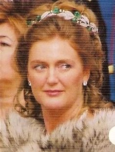 Archduchess Francesca of Austria, wearing the emerald and diamond tiara featured in the previous pin