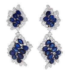 Cartier Sapphire, Diamond and Platinum Earrings