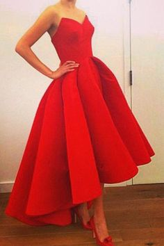 Sweetheart Prom Dress, Red Prom Dresses,High-low Prom Gown,Strapless Prom Dress,Short Prom Dress,Red Homecoming Dress,Sexy Formal Dress With Ruffles,N101