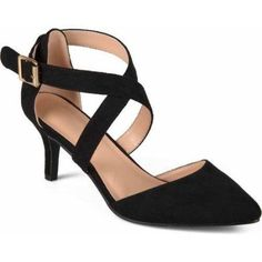 Brinley Co. Womens Cross Strap Faux Suede Pointed Toe Dress High Heels, Women's, Size: 6, Black