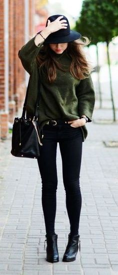 #winter #fashion / olive green knit