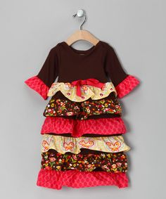 Save Now on this Yellow & Brown Ruffle Dress - Infant by Dessert First on #zulily today!