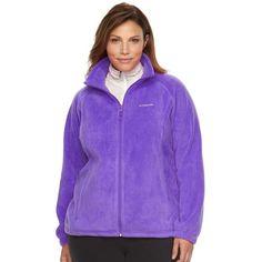 Plus Size Columbia Three Lakes Fleece Jacket ($35) ❤ liked on Polyvore featuring plus size women's fashion, plus size clothing, plus size outerwear, plus size jackets, plus size, purple oth, drawstring jacket, zip front fleece jacket, stand collar jacket and raglan jacket