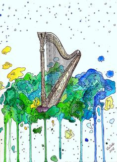 Original Watercolour Painting  Harp by VladlenaPas on Etsy, £9.00