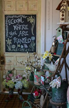 Bloom Where You Are Planted, Spring Inspiration & Chalkboard Door. Great for Spring! Bloom Where You Are Planted, Potting Sheds, Potting Benches, Welcome Spring, Chalkboard Art, Summer Chalkboard, Chalkboard Drawings, Garden Signs, Spring Blooms