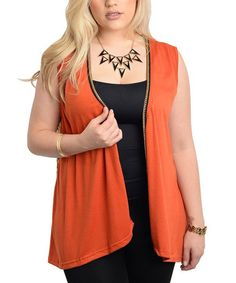 Love this Rust & Brown Animal-Back Vest - Plus on #zulily! #zulilyfinds **necklace too