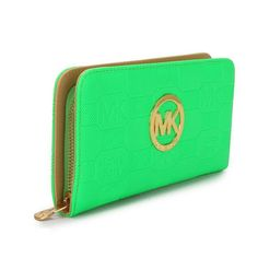 Michael Kors Logo Signature Large Green Wallets $25.99