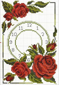 Часы схема вышивки
