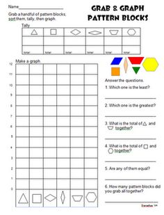 Grab & Graph activity using pattern blocks. This would be great to have on hand as a substitute teacher.