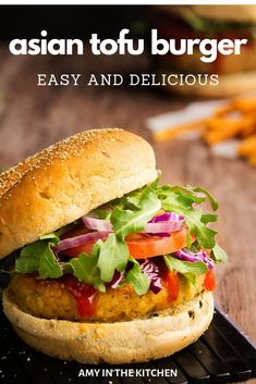 An easy and healthy Asian Style Tofu Burger recipe with an Asian BBQ sauce! The best simple vegetarian option for Meatless Monday! Soy sauce, breadcrumbs and lots of spices! Tofu Recipes, Burger Recipes, Asian Recipes, Cooking Recipes, Healthy Recipes, Sausage Recipes, Kitchen Recipes, Lunch Recipes, Cooking Tips