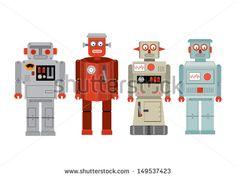 vintage robot vector/illustration