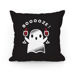 Booooze - Get graveyard smashed with this cute spooky ghost! This fun Halloween pillow features an illustration of a ghost double fisting wine goblets.
