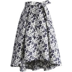 Chicwish Contrast Flowerland Jacquard Waterfall Skirt ($36) ❤ liked on Polyvore featuring skirts, black, floral printed skirt, waterfall skirt, floral pattern skirt, flower print skirt and floral print skirt