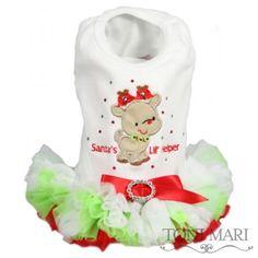 Santa's Lil Helper Dog Tutu Dress for Dogs-White