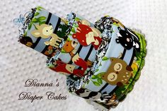 Baby Diaper Cakes Woodland Animals Shower Gift or Centerpiece