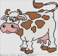 cow cute EN PUNTO DE CRUZ, Cross stitch patterns