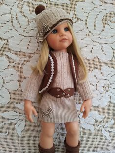 For 18″ Dolls, such as Hannah Gotz, Precious Day Gotz, Designafriend, American Girl & Our Generation: Luxury Blue Corduroy Pleated Skirt, trimmed with lace and daisies. Fleece Crop...