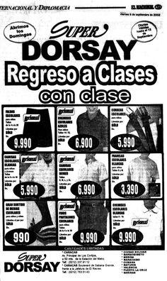 Publicidad de Super Dorsay para el regreso a clases. Publicado el 06 de septiembre de 2002.