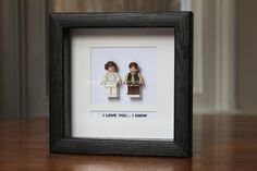 Star Wars Lego Mini Figures Han & Leia Framed  by PrettyPeculiarUK, £35.00