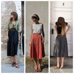Envie couture : La jupe midi Sewing Envy # The midi skirt – MorivalSewing Envy # The midi skirt – Briana WeissStyling 60 best midi skirts: how to combine your… Sewing desire # 1 : The midi skirt Mode Outfits, Skirt Outfits, Dress Skirt, Dress Up, Fashion Outfits, Womens Fashion, Dress Fashion, Midi Skirt Outfit, Couture Fashion
