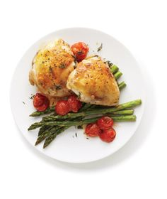 Roasted Chicken With Asparagus from realsimple.com #myplate #protein #vegetables