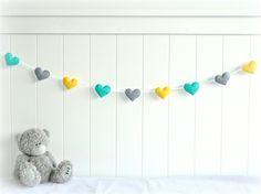 Heart garland in turquoise, yellow and gray felt - Nursery decor | Lullaby Mobiles & Designs | madeit.com.au Bunting Garland, Heart Garland, Buntings, Baby Crafts, Felt Crafts, Cuadros Diy, Heart Banner, Diy Bebe, Nursery Inspiration