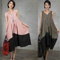 Vestido maxi vestido de verano 3 colores cuello V por clothnew88