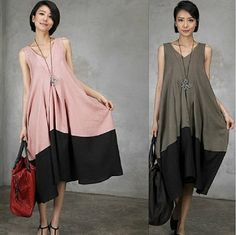 Maxi Dress - Summer Dress - 3 colors deep V collar Linen Sundress for Women-Sleeveless (120)