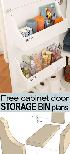 Lacking storage space? Use these FREE cabinet door storage bin plans from @Remodelaholic.