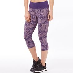 3861c804fafede Asics Womens Fuzex Deep Waisted Graphic Running Capri Leggings Brush  Elderberry