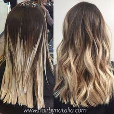 Balayage hair painting. Sandy blonde Balayage. Balayage in Denver.