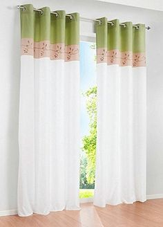 Uphome 1Pair Bamboo Fabric Embroidered Window Curtain Panels  Stitching Color White Semilight Window Treatments57 x 96 InchGreen