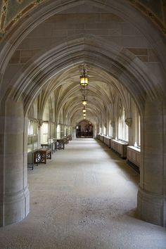 Cloister hallway of Sterling Memorial Library from nave, Yale University, New Haven, CT
