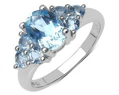 chicmarket.com - 2.32 Carat Genuine Blue Topaz Sterling Silver Ring - 7