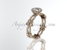 14k rose gold diamond leaf and vine wedding ring,engagement ring ADLR19D